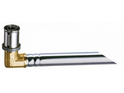 Пресс-уголок 16х2 с хром.труб.(l = 9 см, 15мм) для подключения к радиатору лат.
