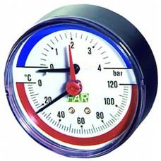 Термоманометр 0-4 бар, 0-120 °c, o 80 мм, торцевое..